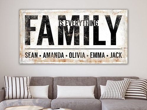 Steel/Wood Rustic White Family names  Print