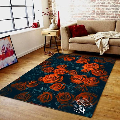 Red and Black Rose Rug