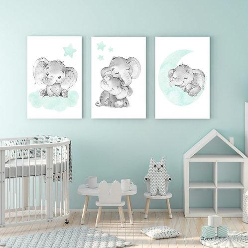 2020 Teal Elephant wood print
