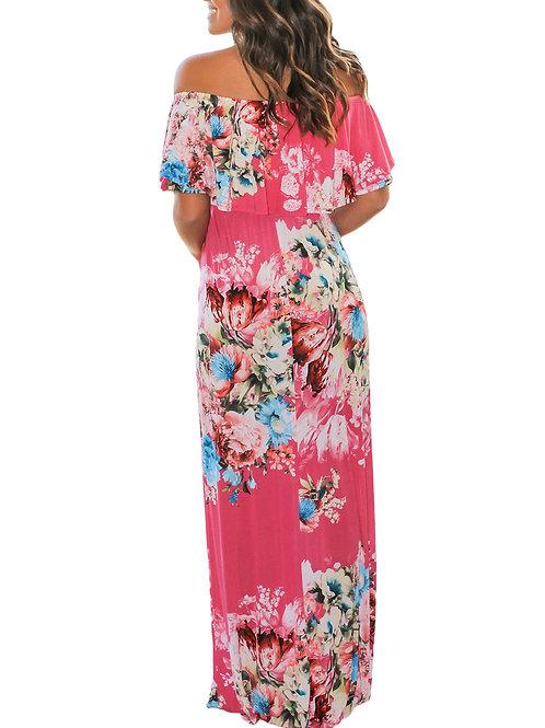 Flower Print Rosy Grounding Off Shoulder Long Boho Dress