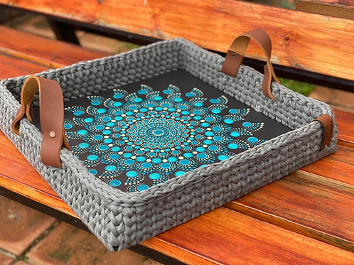 Hand painted Crochet Basket Rectangular and Square