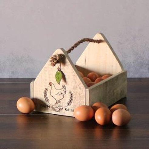 Wooden egg holder farm raised