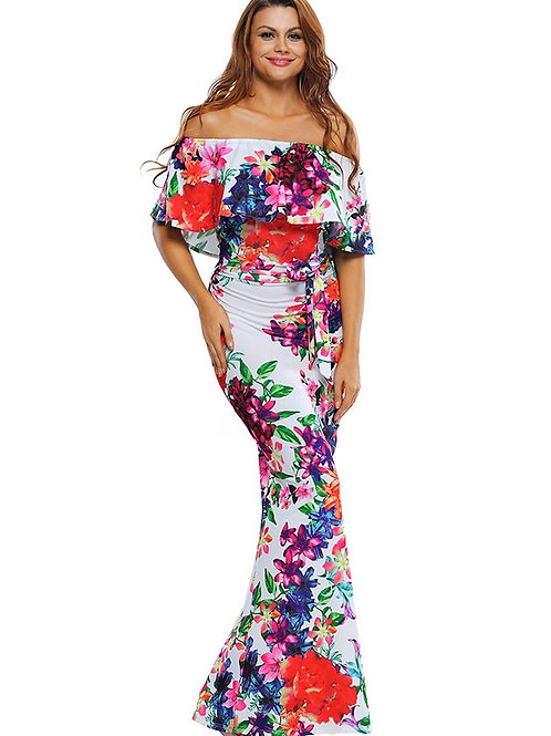 Fitted Off Shoulder Ruffle Dress Vibrant Lily