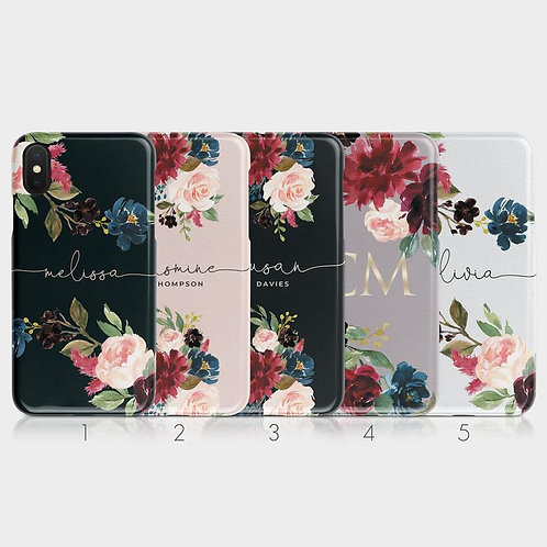 Phone Case Cover:Personalised Initials Custom Hard Phone Case Floral English Ros
