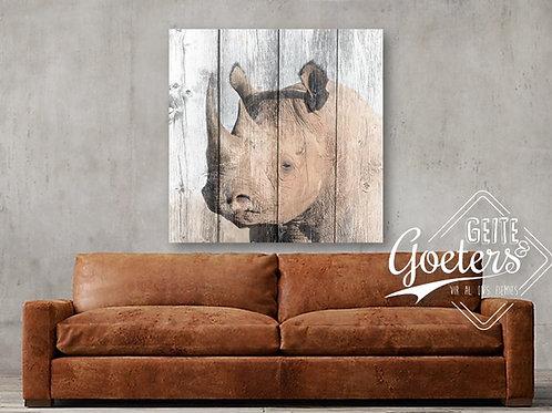 Rhino on wood