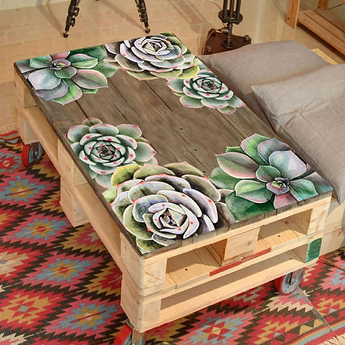 Succulent Printed Pallet Coffee Table
