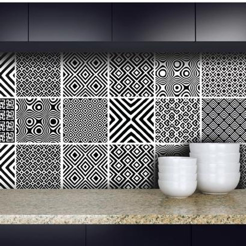 Set of  Vinyl Tiles - African Mix - Black