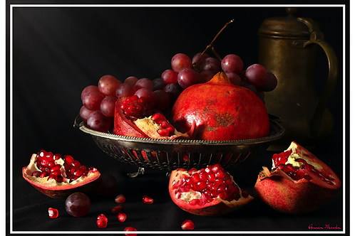 Vinyl Placemats - Set of 4 - Pomegranate and Grapes