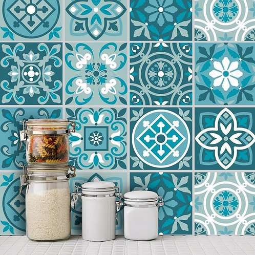 Set of  Vinyl Tiles - Medieval - Teal