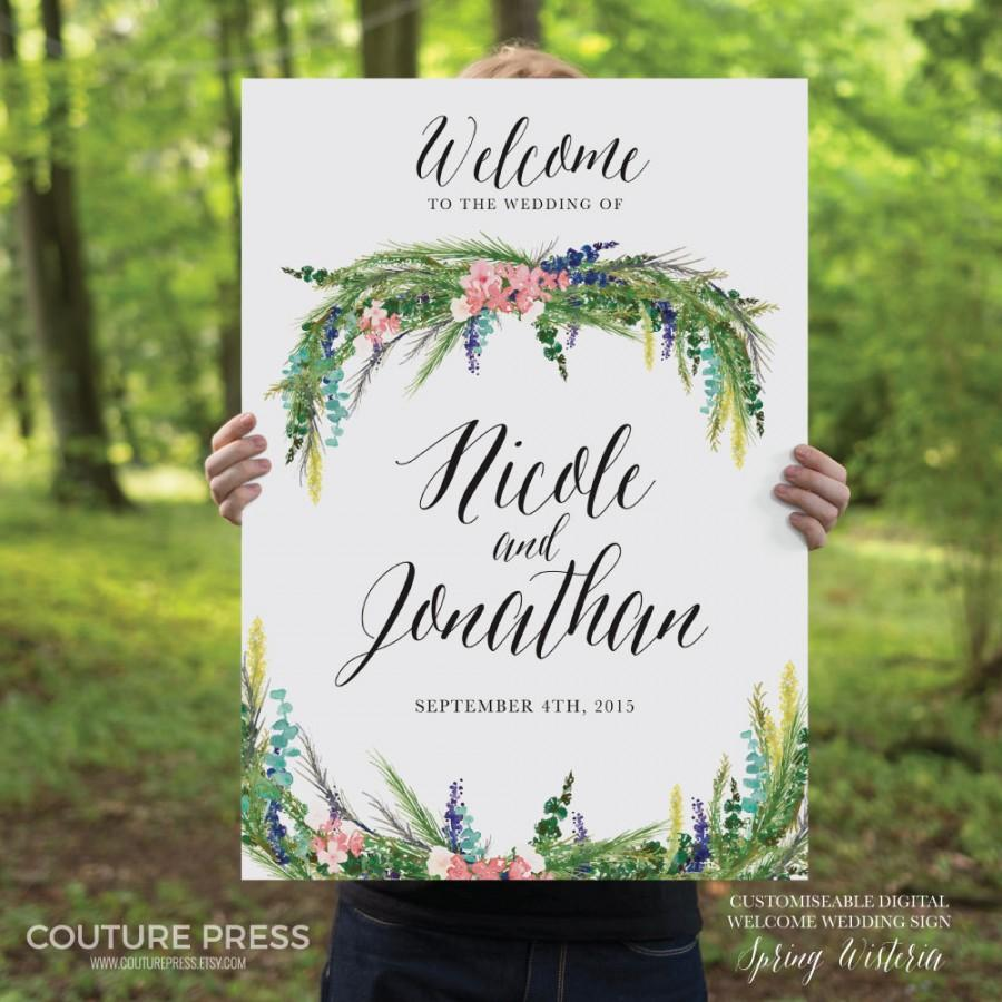 printable-wedding-welcome-sign-watercolor-spring-wisteria-rustic-whimsical-diy-printable-sign-weddin