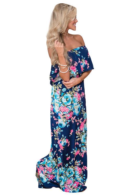Flower Print Blue Grounding Off Shoulder Long Boho Dress
