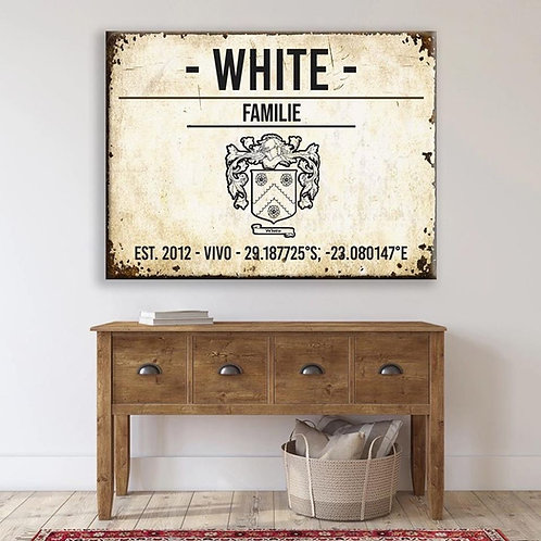 BF Steel/Wood Rustic Family Print Family Sign (A2)