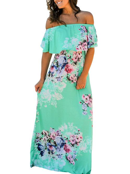 Flower Print Mint Grounding Off Shoulder Long Boho Dress