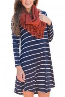 Leisure Blue Stripe Pattern Mini Length Dress