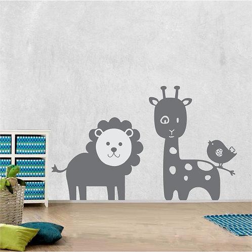 Whimsical lion & giraffe