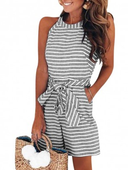 Contouring Sensation Black/Blue Stripe Rompers With Side Pockets Online