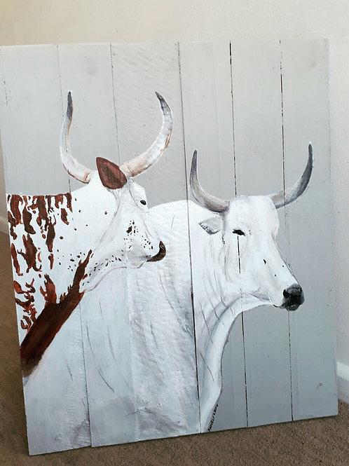 Medium Nguni White Duo