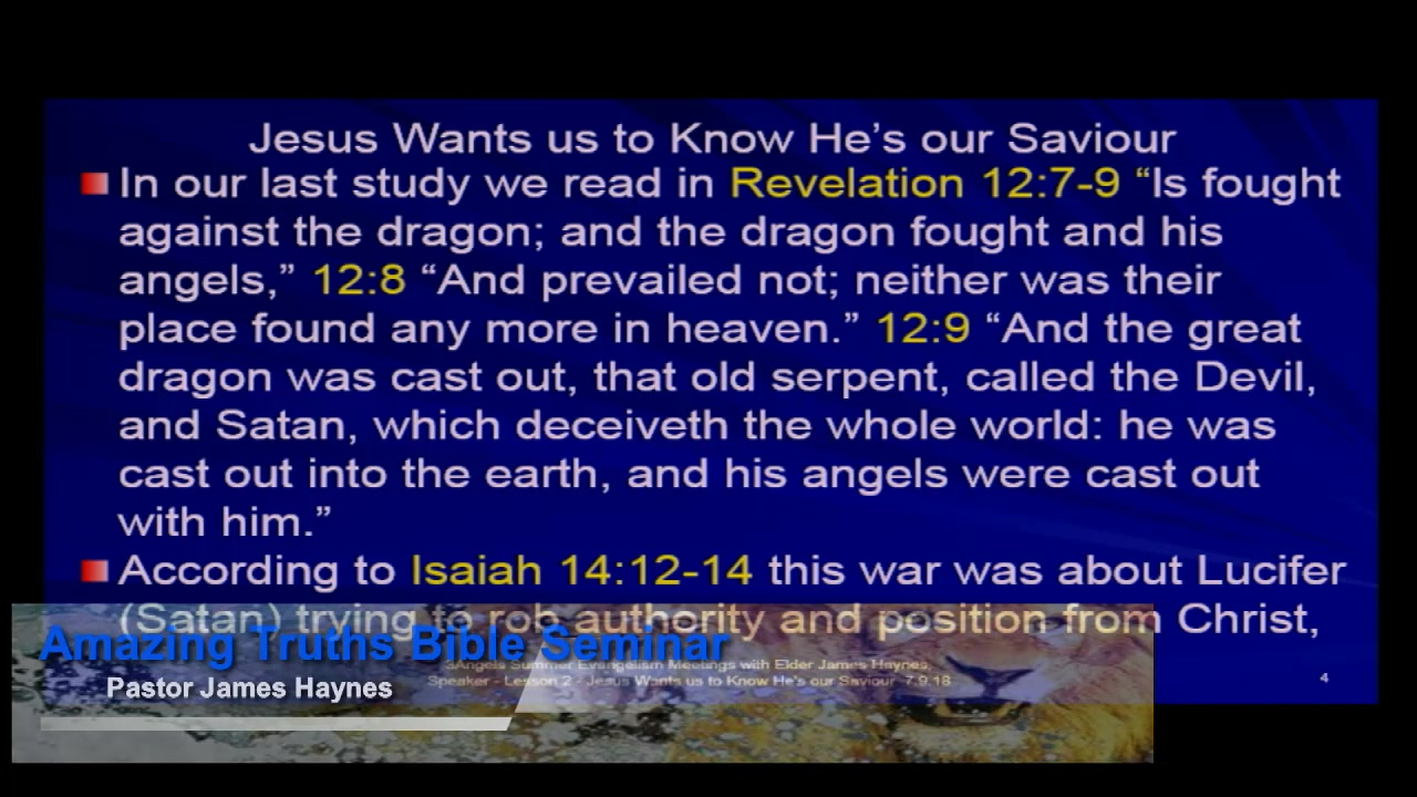 """Amazing Truths Bible Seminar - Lesson 2: He's Our Loving Saviour"""