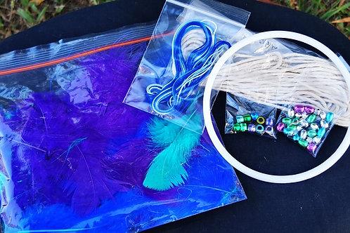 13cm Purple/blues dreamcatcher kit and class