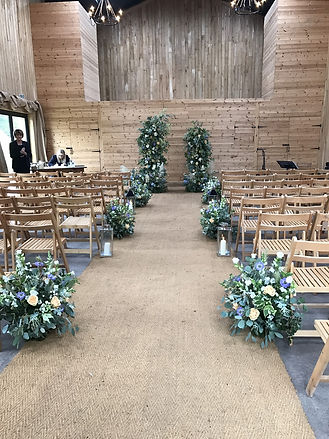 Wedding ceremony in the Hop Barn at Chafford Park Estate