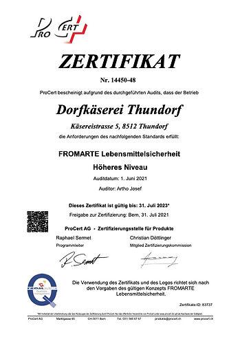 FRO_Zertifikat_Dorfkäserei Thundorf