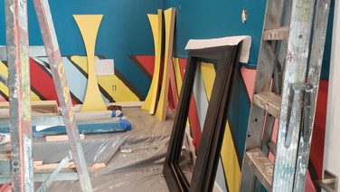 Wall being painted for Children's theater