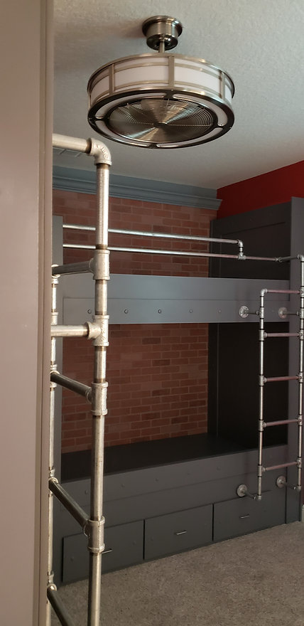 Spiderman Inspired Industrial Bunk Beds and Bedroom