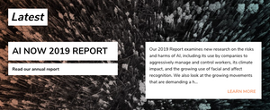 An image from the AI Now Institute that advertises their 2019 report.