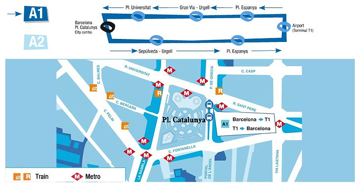 バルセロナ・エアロブス乗り場マップ