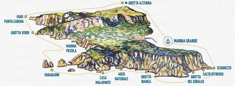 イタリア・カプリ島周遊クルーズのルート
