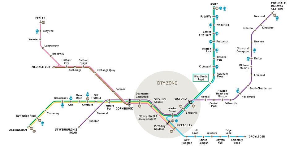 マンチェスター・トラム路線図