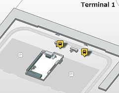 バルセロナ・エアロブスの空港乗車場所