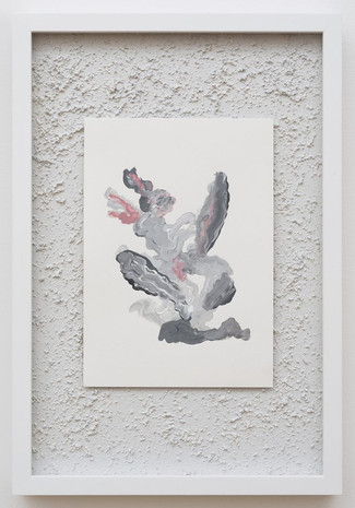 Only Rabbits, 2017, Gouache on Paper on Stucco