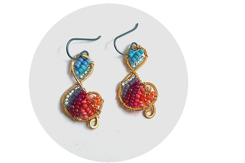Brightly Beaded Treble Clef Earrings