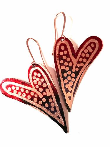 Polka Dot Red Heart Earrings