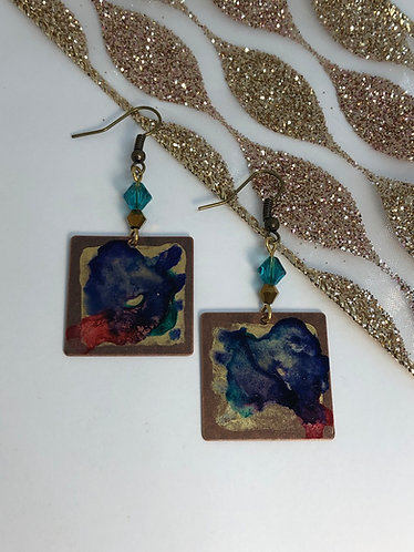 Abstract Painted Square Earrings