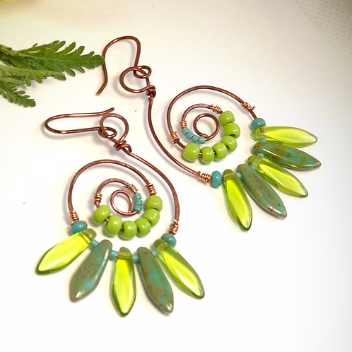 Turquoise & Lime Spiral Earrings