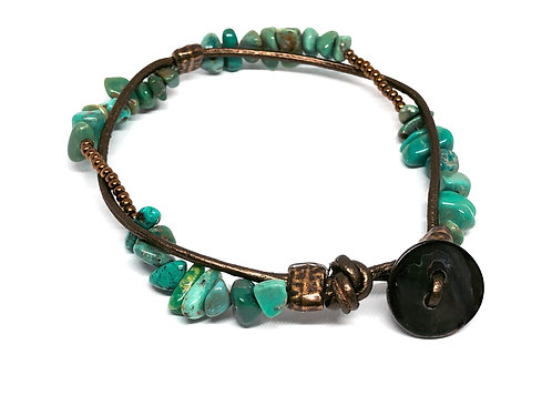 Turquoise Beaded & Leather Bracelet