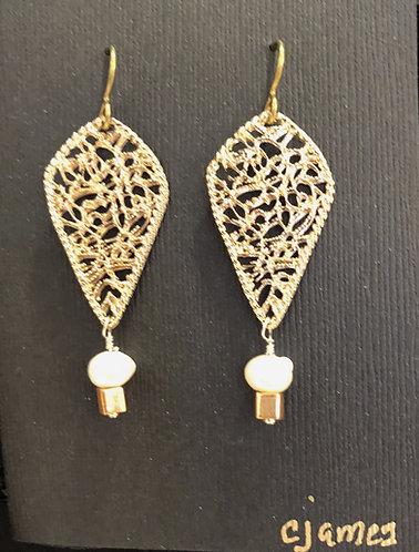 Gold Filagree & Pearl Earrings