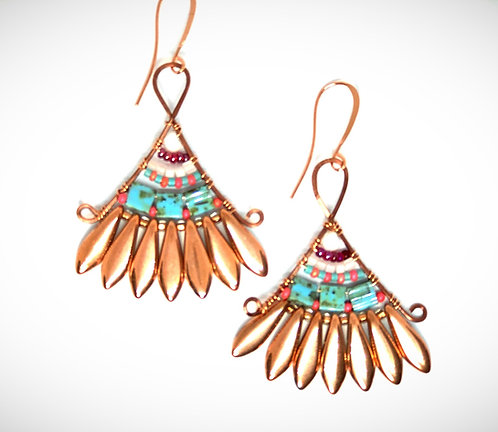 Turquoise & Orange Fan Earrings