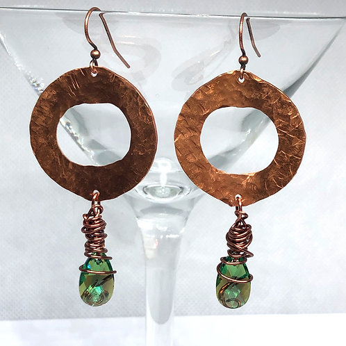 Hammered Copper/Green Crystal Earrings