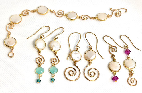 Pearls & Swirls Bracelet and Earrings Collection