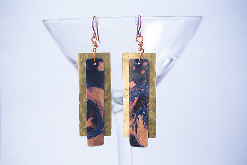 Indigo Copper Painted Layer Earrings