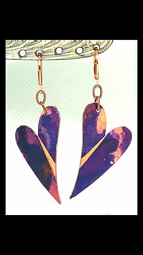 Purple Heart Hand Painted Copper Heart Earrings