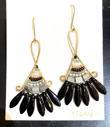 Classy Black, Gold, Gray & White Fan Earrings