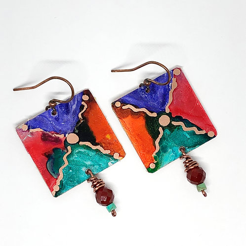 4-Square Alcohol Ink Painted Earrings
