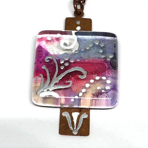 Desert Sunset Painted Pendant Necklace