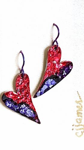 Purple & Red Hammered Heart Earrings on purple niobium earwires