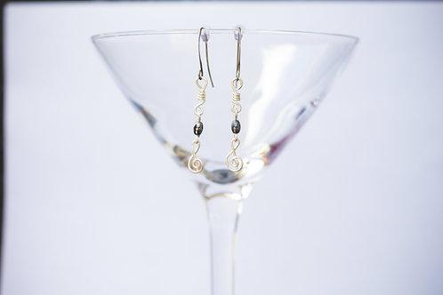Sterling Silver Treble Clef WireArt Earrings