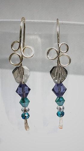 Purple/Turquoise Crystal Wire Art Earrings